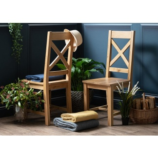 Lucca Collection | Dining Chair | Cross Back with Wood Seat at Teds Interiors Newry