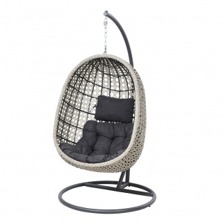 Hanging Chair with Stand Stone Grey Single Hanging Chair at Teds Interiors Newry