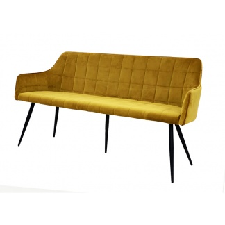Vienna Dining Bench Mustard Velvet Quilted Seats and Back at Teds Interiors Newry