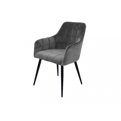 Vienna Dining Chair Grey Velvet Quilted Seat and Back at Teds Interiors Newry