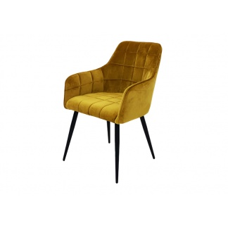 Vienna Dining Chair Mustard Velvet Quilted Seat and Back at Teds Interiors Newry