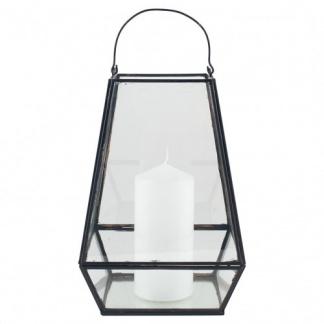Matt Black Metal & Clear Glass Geo Lantern at Teds Interiors Newry