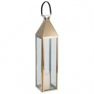 Matt Gold Stainless Steel & Glass Large Lantern at Teds Interiors Newry