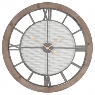 Natural Wood & Metal Round Wall Clock at Teds Interiors Newry