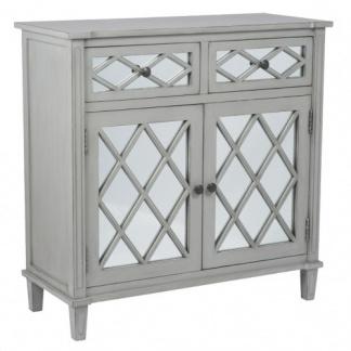 Puglia Dove Grey Mirrored Pine Wood 2 Drawer 2 Door Unit at Teds Interiors Newry