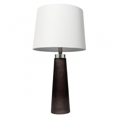 Diablo Glass Table Lamp with White Linen Shade at Teds Interiors Newry