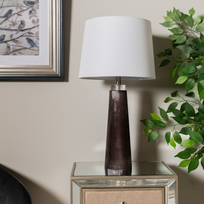 Diablo Glass Table Lamp with White Linen Shade lifestyle image