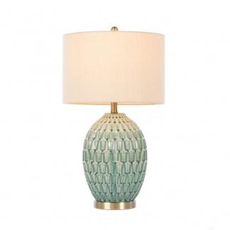 Gemma Ceramic Table Lamp Aqua Geometric Pattern at Teds Interiors Newry