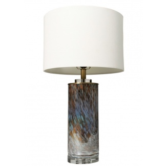 Luna Glass table Lamp White Linen Shade at Teds Interiors Newry
